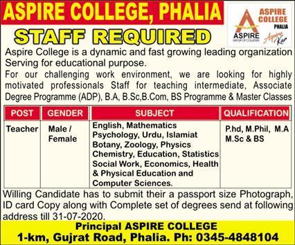 Aspire College Jobs 2020 For Teaching Staff in Phalia