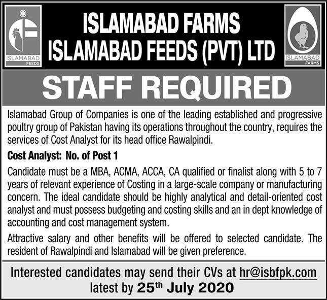 Islamabad Farms Jobs 2020 For Cost Analyst in Rawalpindi