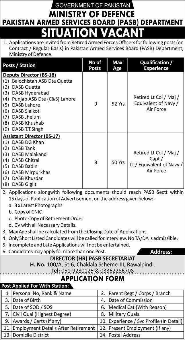 Pakistan Armed Services Board Department Jobs 2020
