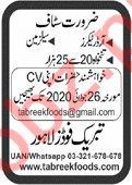 Tabreek Foods Lahore Jobs 2020 for Salesman & Order Taker