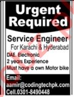 Coding Technologies Karachi Jobs 2020 for Service Engineer