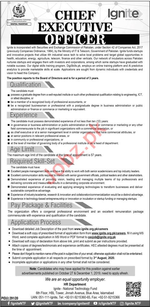 Ministry of Information Technology Ignite Islamabad Jobs