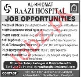 Al Khidmat Raazi Hospital Jobs 2020 for Doctor & Nurse