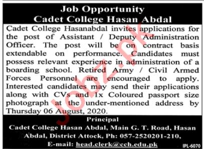 Assistant Jobs 2020 in Cadet College Hasan Abdal