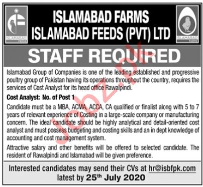 Islamabad Feeds & Farms Rawalpindi Jobs 2020 Cost Analyst