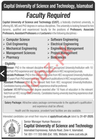Capital University of Science & Technology CUST Jobs 2020