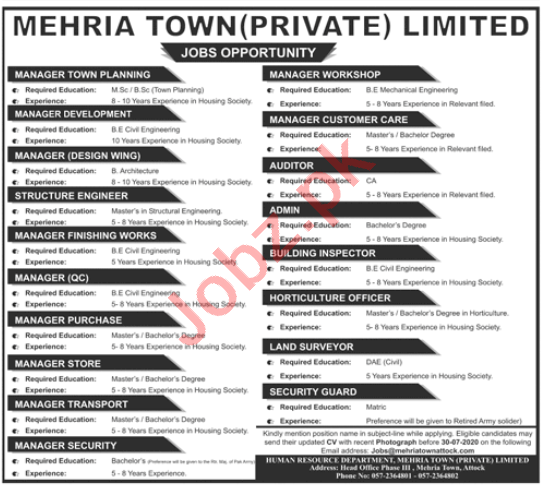 Mehria Town Attock Jobs 2020 for Manager