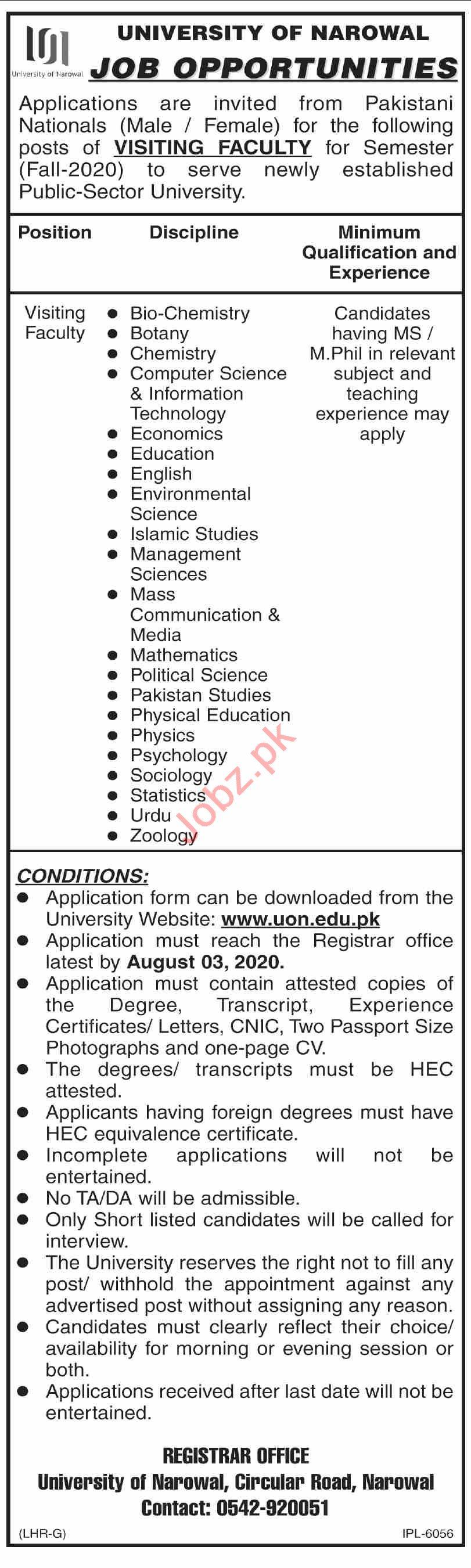 University of Narowal Jobs 2020 for Visiting Faculty