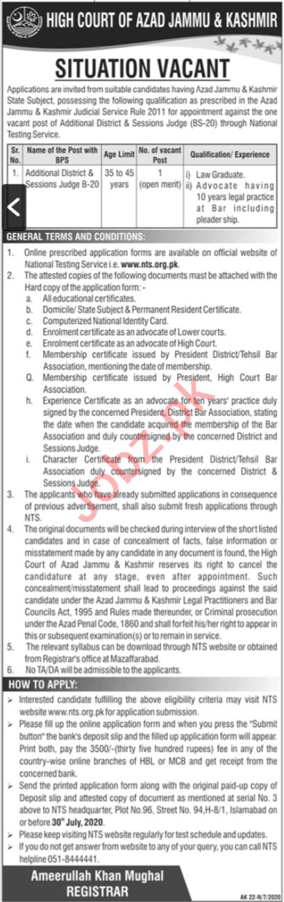 High Court of Azad Jammu & Kashmir Jobs 2020 for Judge