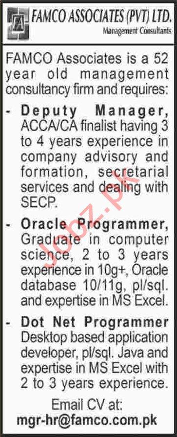 Deputy Manager & Oracle Developer Jobs 2020 in Karachi