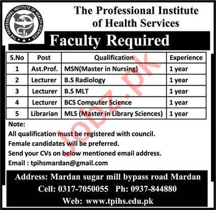 The Professional Institute of Health Sciences Mardan Jobs