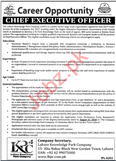 Lahore Knowledge Park Company LKPC Jobs 2020 for CEO