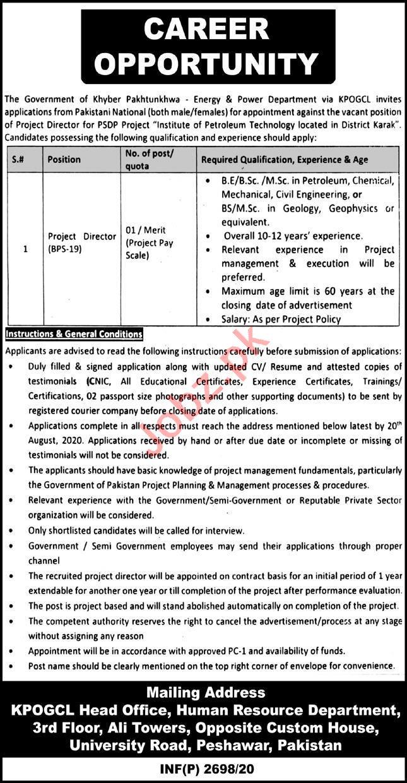 Energy & Power Department KPOGCL Jobs 2020 for Director
