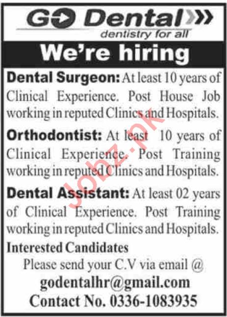 Go Dental Clinic Karachi Jobs 2020 for Dental Surgeon