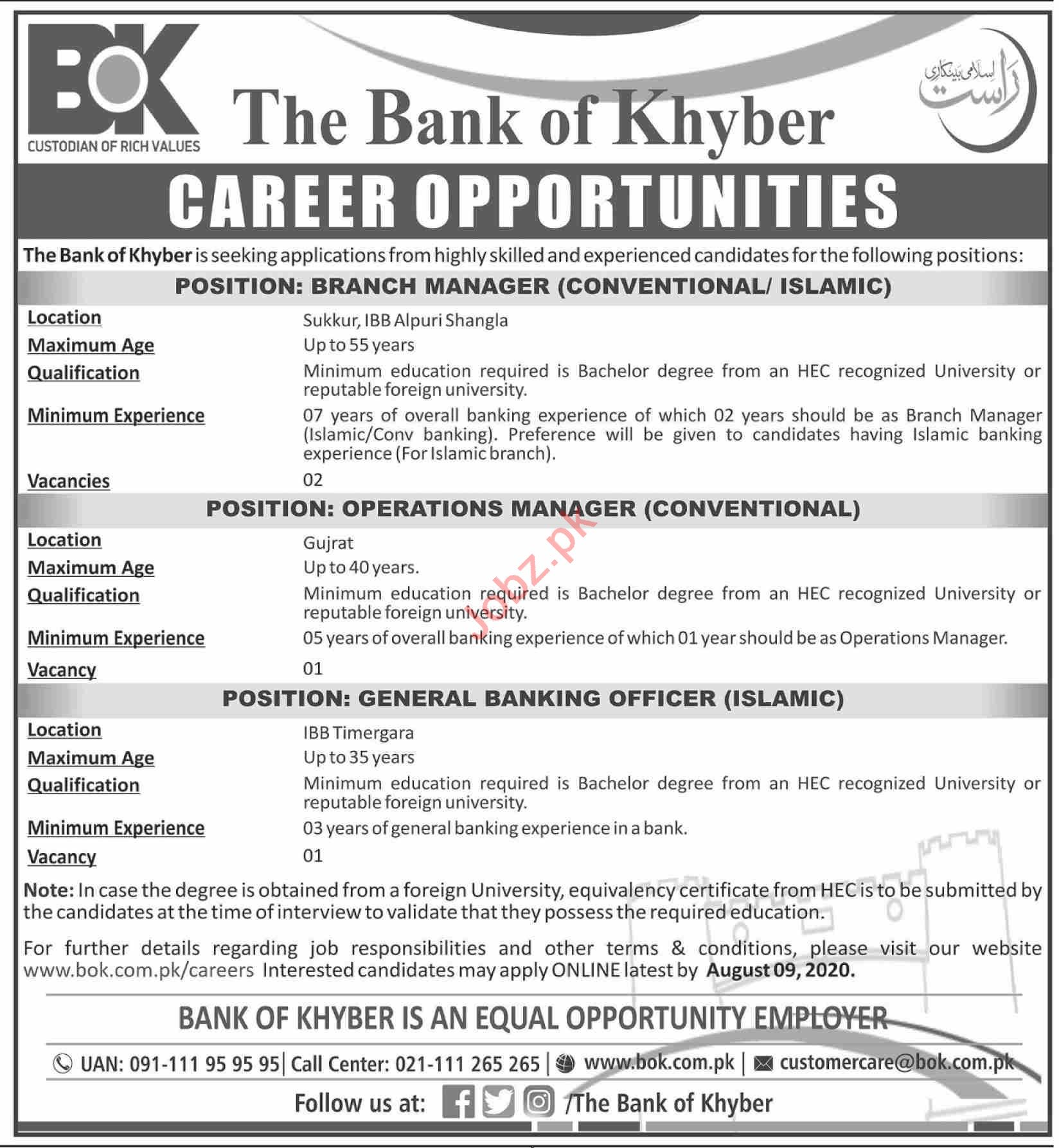 Bank of Khyber BOK Jobs 2020 for Branch & Operation Manager