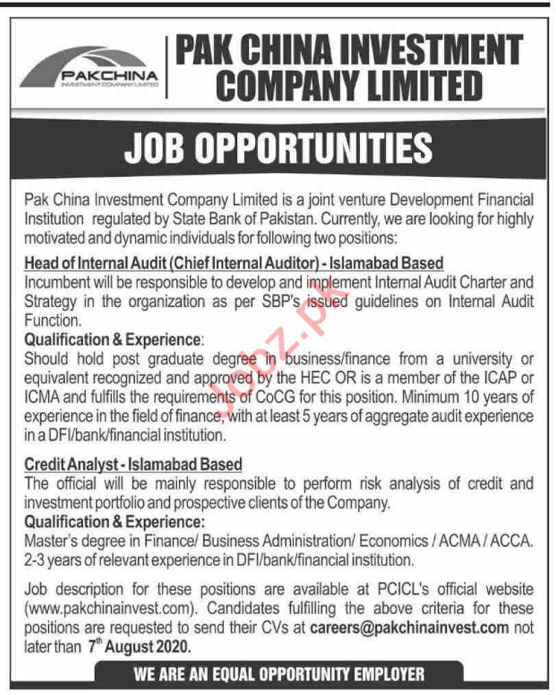 Pak China Investment Company Islamabad Jobs 2020 for Auditor