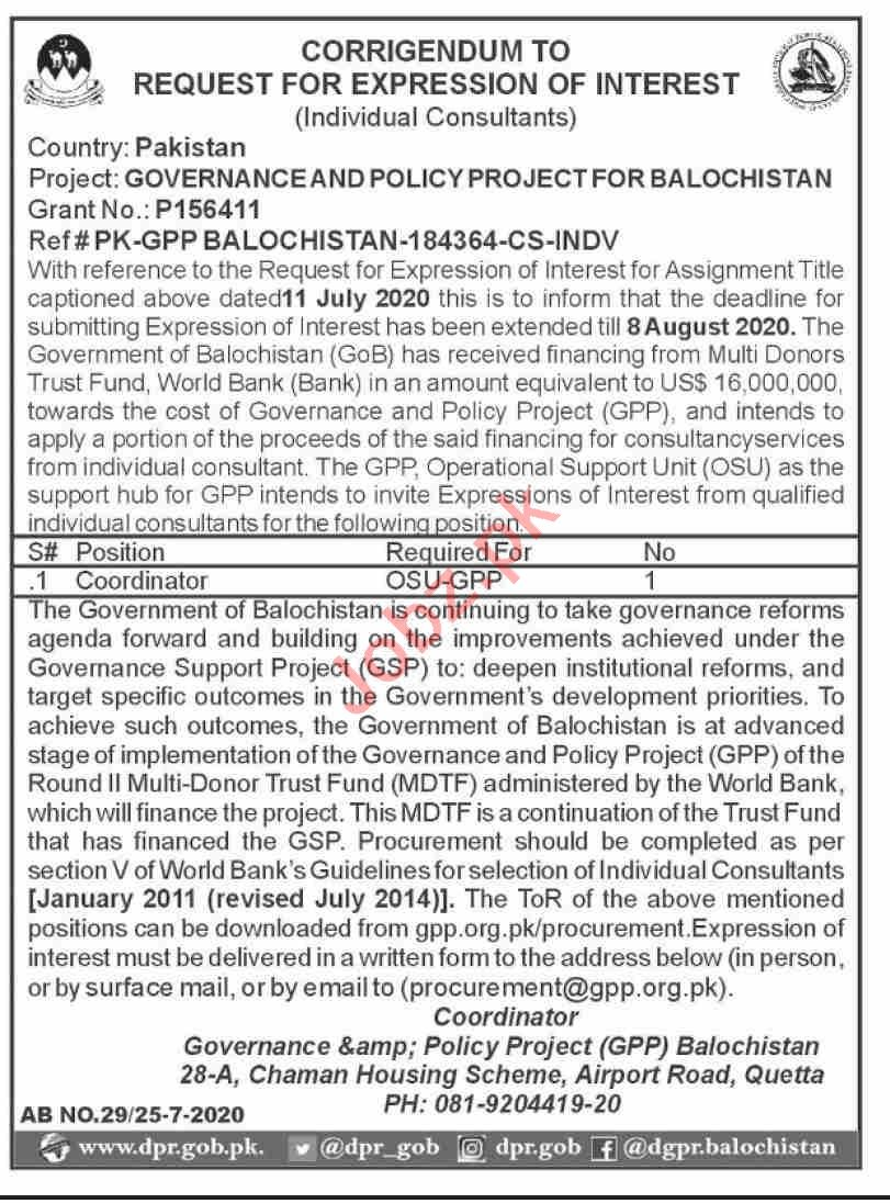 Governance & Policy Project GPP Balochistan Jobs 2020