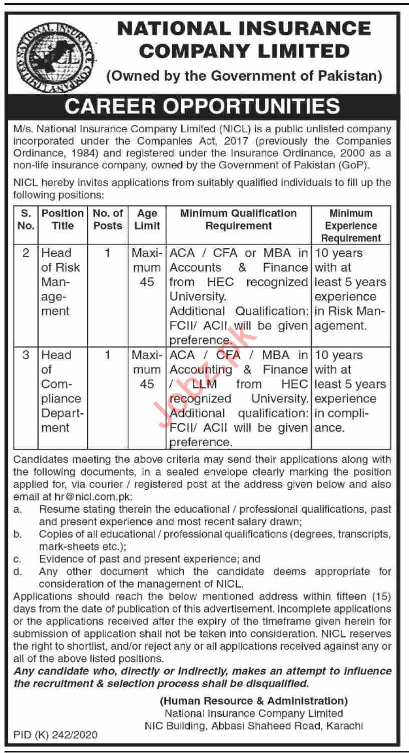 National Insurance Company Limited NICL Karachi Jobs 2020