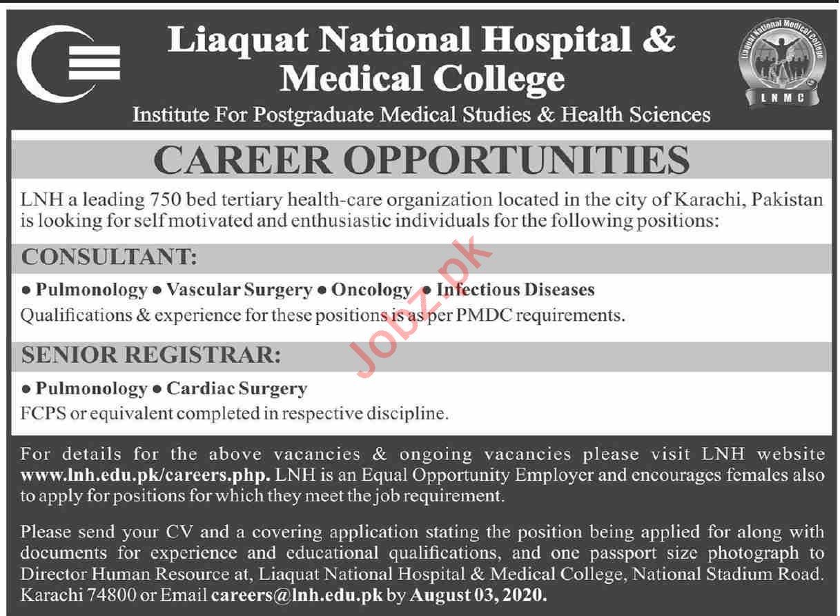 Liaquat National Hospital Medical College Lnh Karachi Jobs 2021 Job Advertisement Pakistan