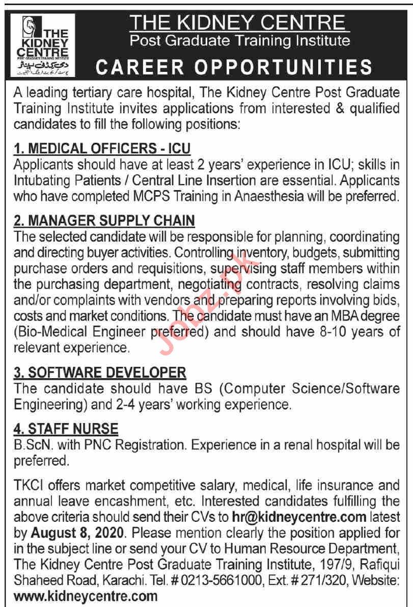 The Kidney Centre Karachi Jobs 2020 for Medical Officers