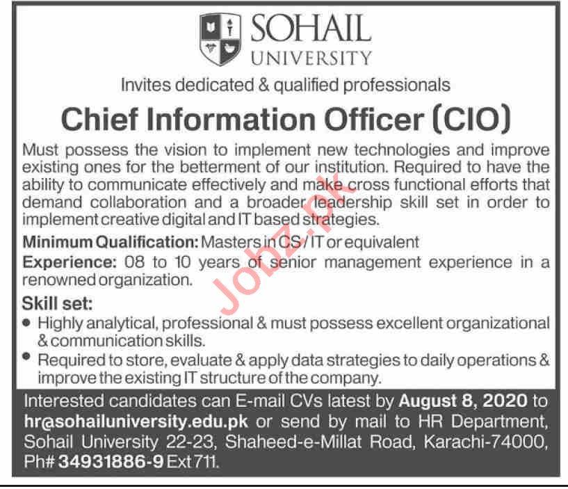 Sohail University Karachi Jobs for Chief Information Officer