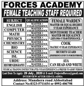 Forces Academy Jobs 2020 in Abbottabad KPK
