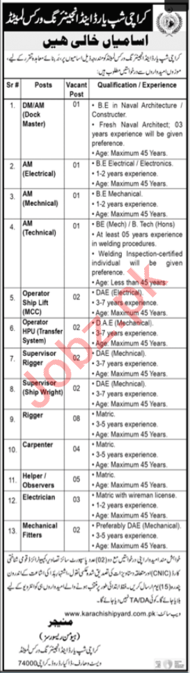 Karachi Shipyard KS&EW Jobs 2020 for Dock Master & Rigger