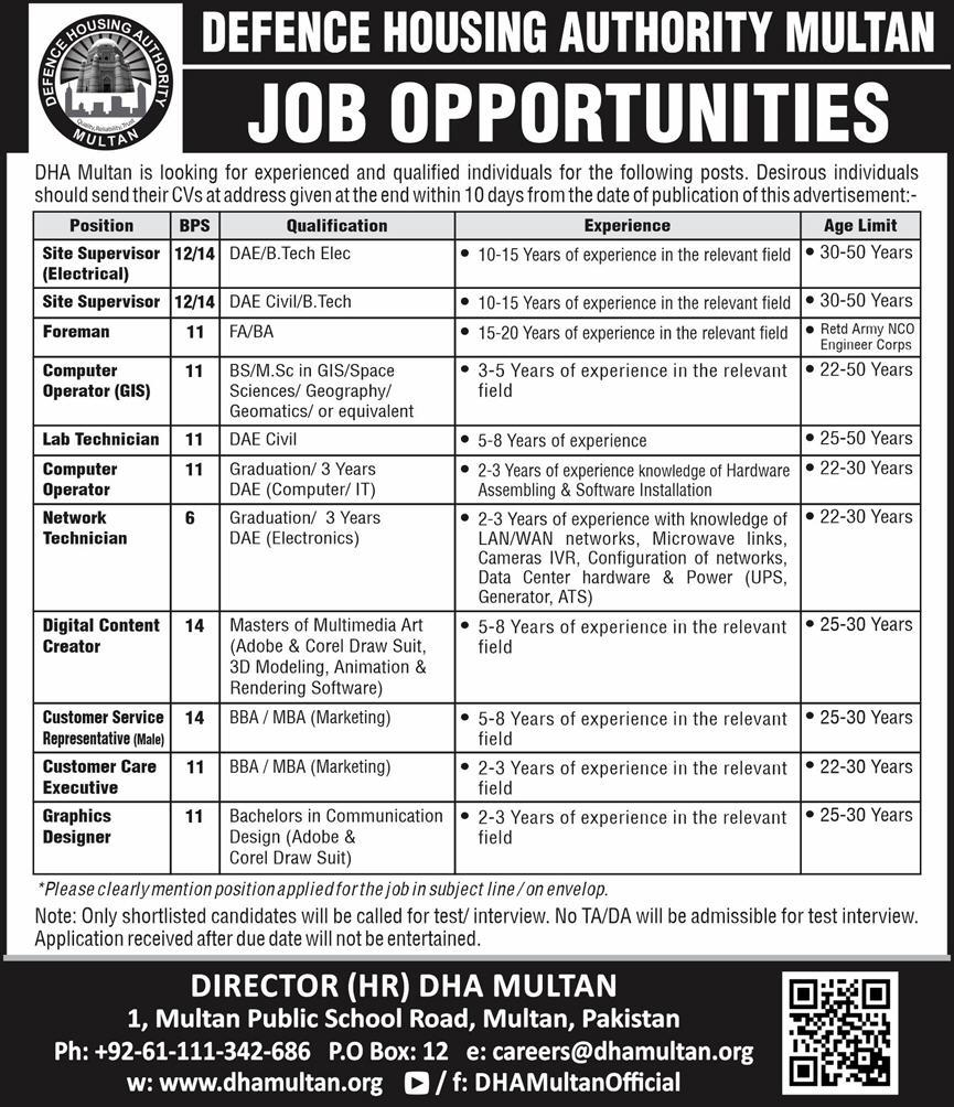 Defence Housing Authority DHA Jobs 2020 in Multan