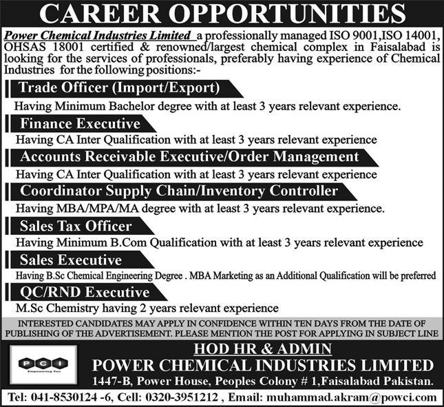 Power Chemical Industries Limited Jobs 2020 in Faisalabad