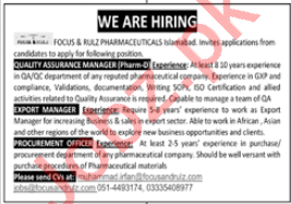 Focus & Rulz Pharmaceuticals Jobs 2020 for QA Manager