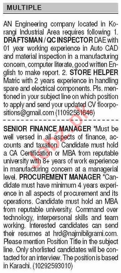 Dawn Sunday Classified Ads 26 July 2020 for Multiple Staff