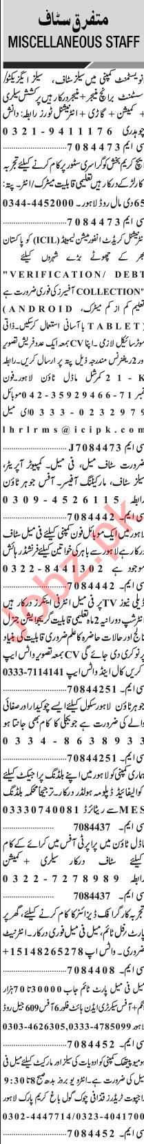 Jang Sunday Classified Ads 26 July 2020 for Multiple Staff