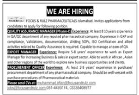 Focus & Rulz Pharmaceuticals Pvt Ltd Jobs 2020 in Islamabad