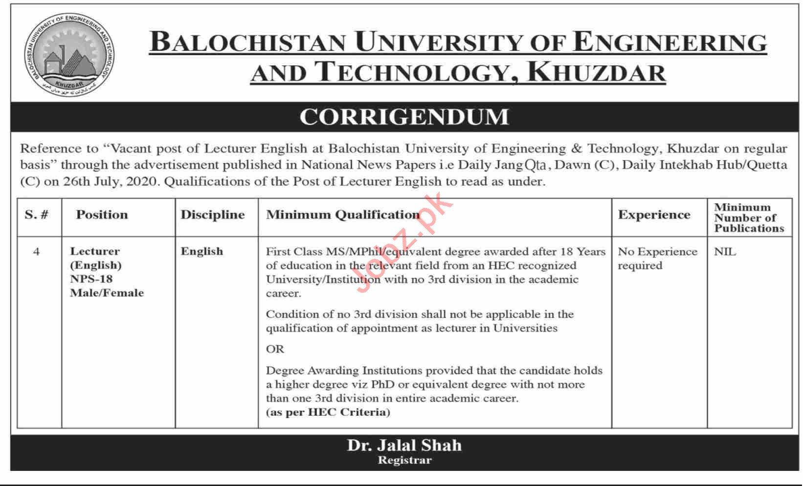 Balochistan University of Engineering BUET Khuzdar Jobs 2020