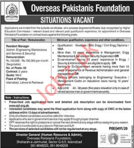 OPF Foundation Islamabad Jobs 2020 for Resident Manager