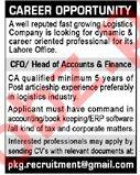 Head of Accounts & Finance Jobs 2020 in Lahore