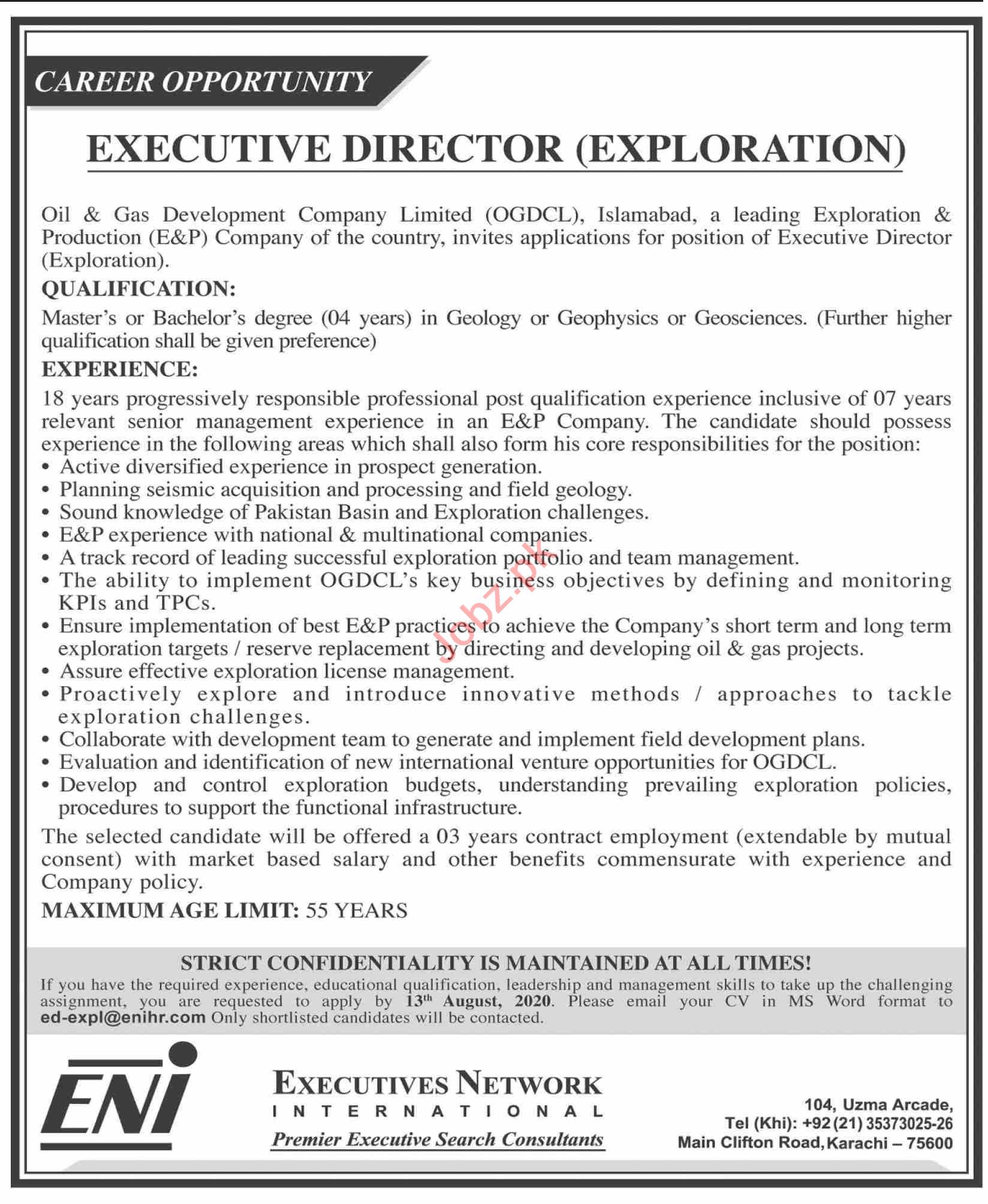 Executive Director Exploration Jobs 2020 in OGDCL Islamabad