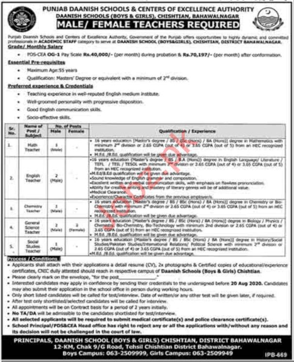 Punjab Daanish Schools Boys & Girls Chishtian Jobs 2020