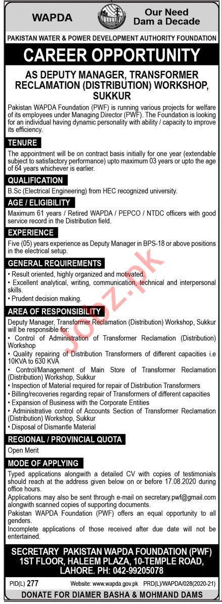 Pakistan Water & Power Development Authority WAPDA Jobs 2020