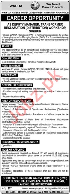 Pakistan WAPDA Foundation PWF Sukkur Jobs 2020