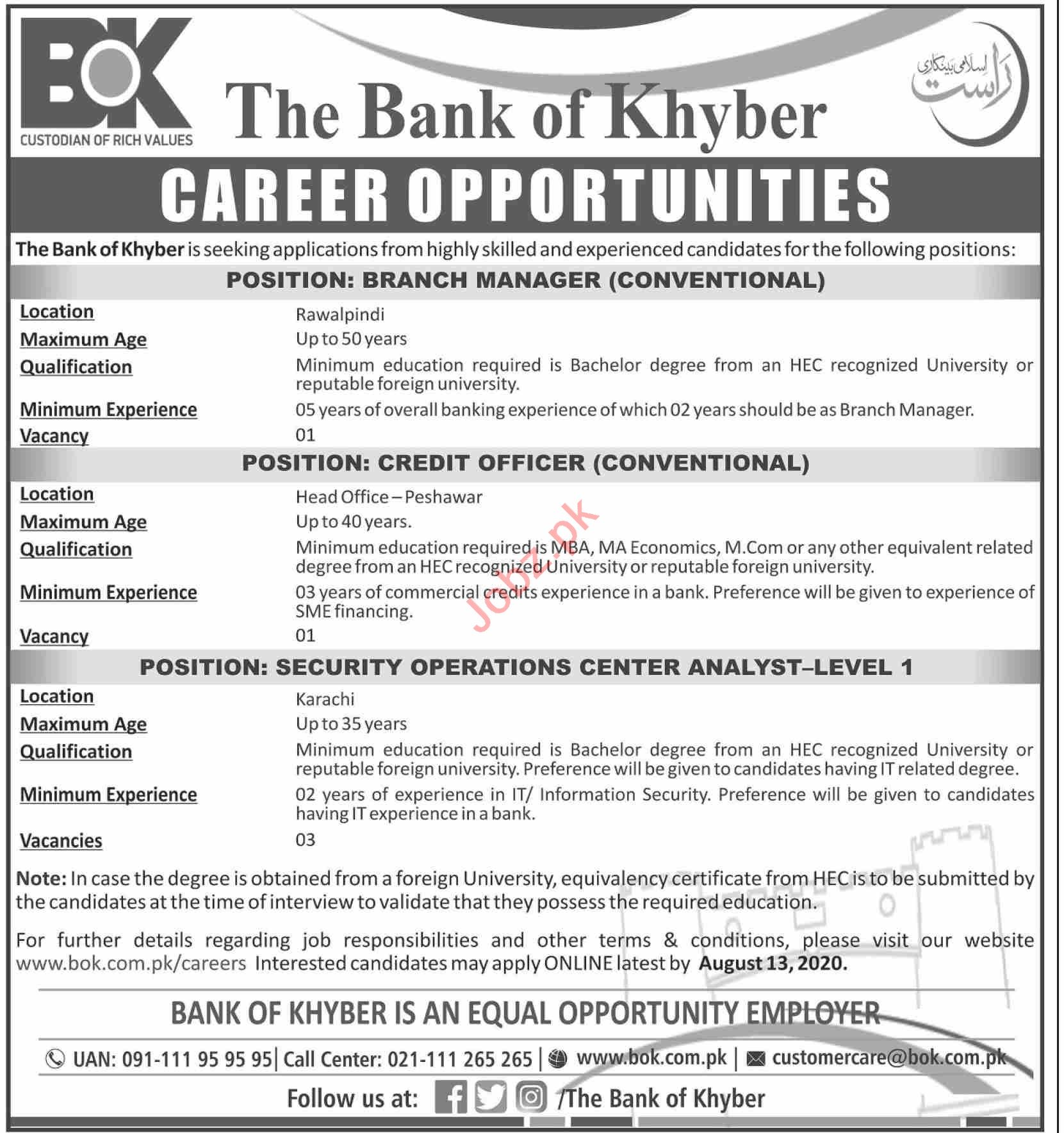 Bank of Khyber BOK Jobs 2020 for Branch Managers
