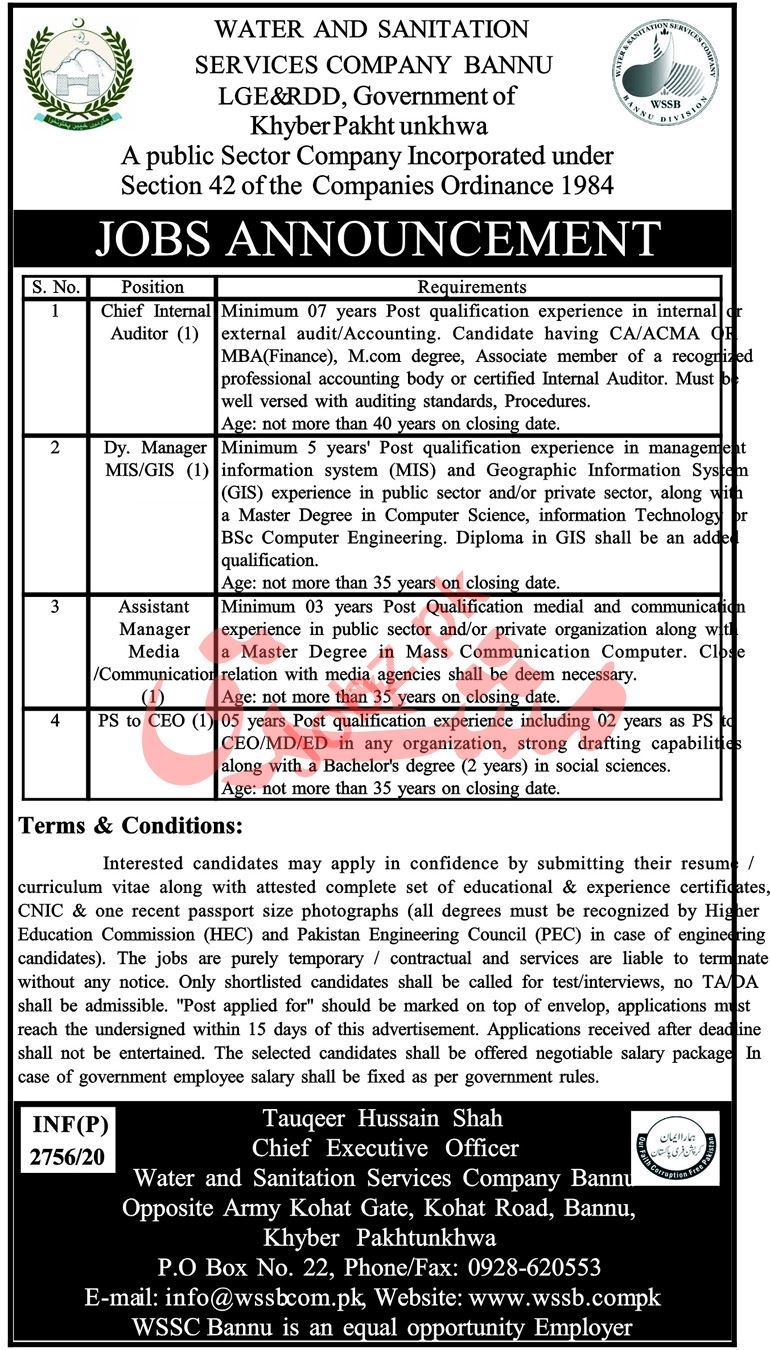 Water & Sanitation Services Company WSSC Bannu Jobs 2020