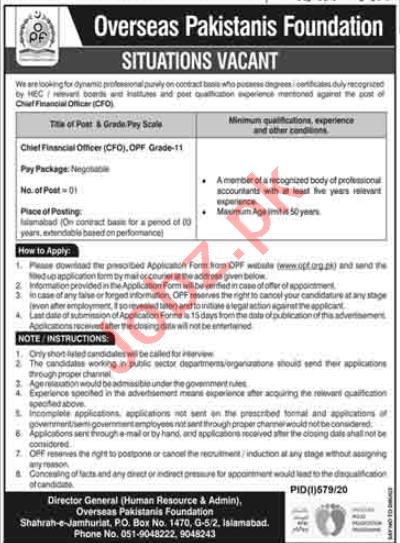 Overseas Pakistanis Foundation OPF Jobs 2020 for CFO