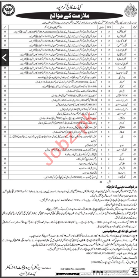 Cadet College Karampur Jobs 2020 for Lecturers & Clerks