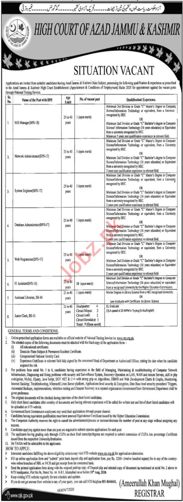 High Court of Azad Jammu & Kashmir Jobs 2020 for Managers