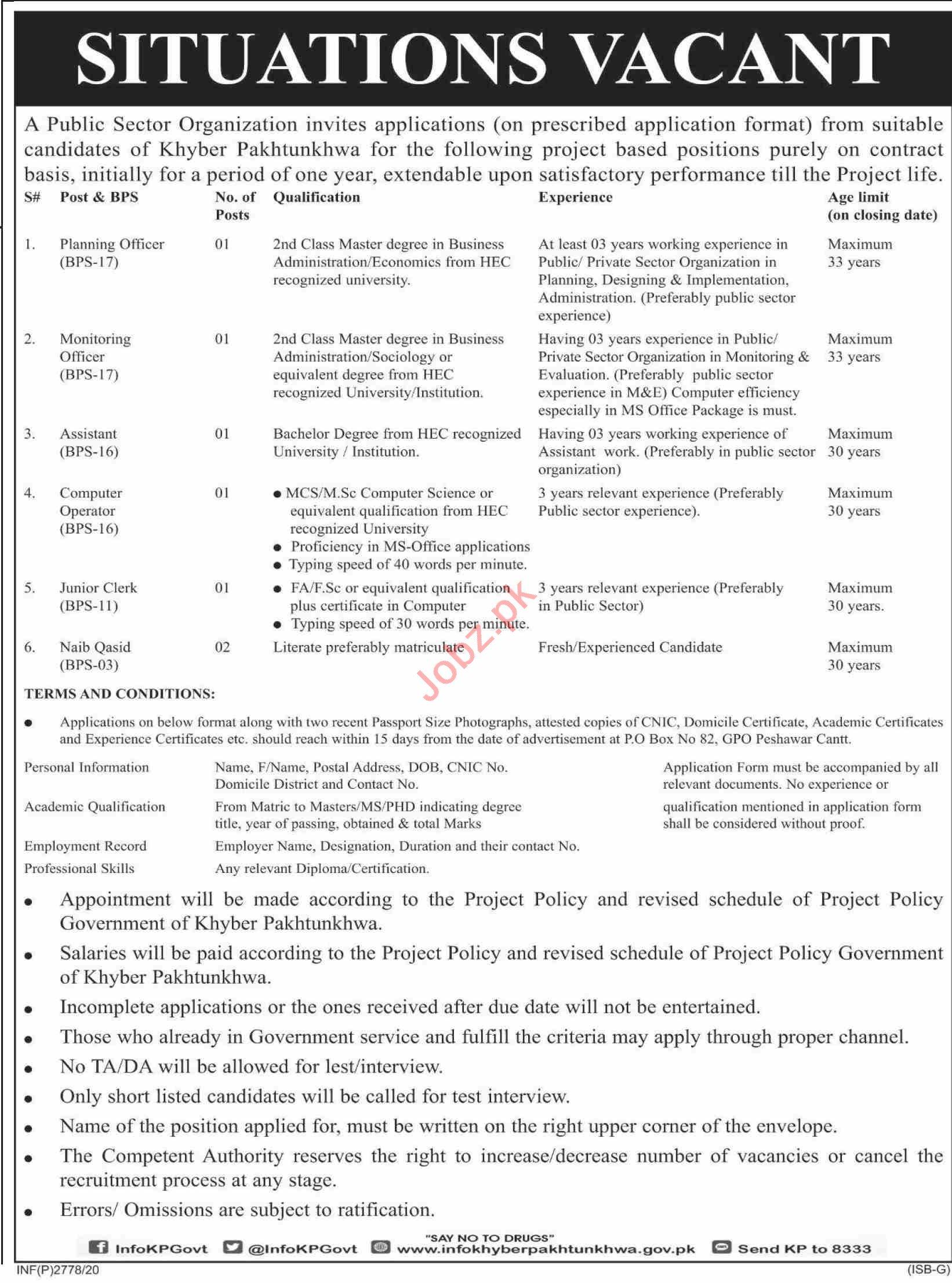 Monitoring Officer & Junior Clerk Jobs 2020 in Peshawar