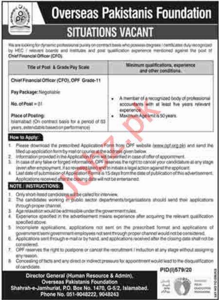 OPF Islamabad Jobs 2020 for Chief Financial Officer
