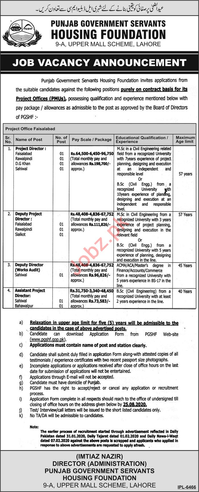 Punjab Government Servants Housing Foundation PGSHF Jobs