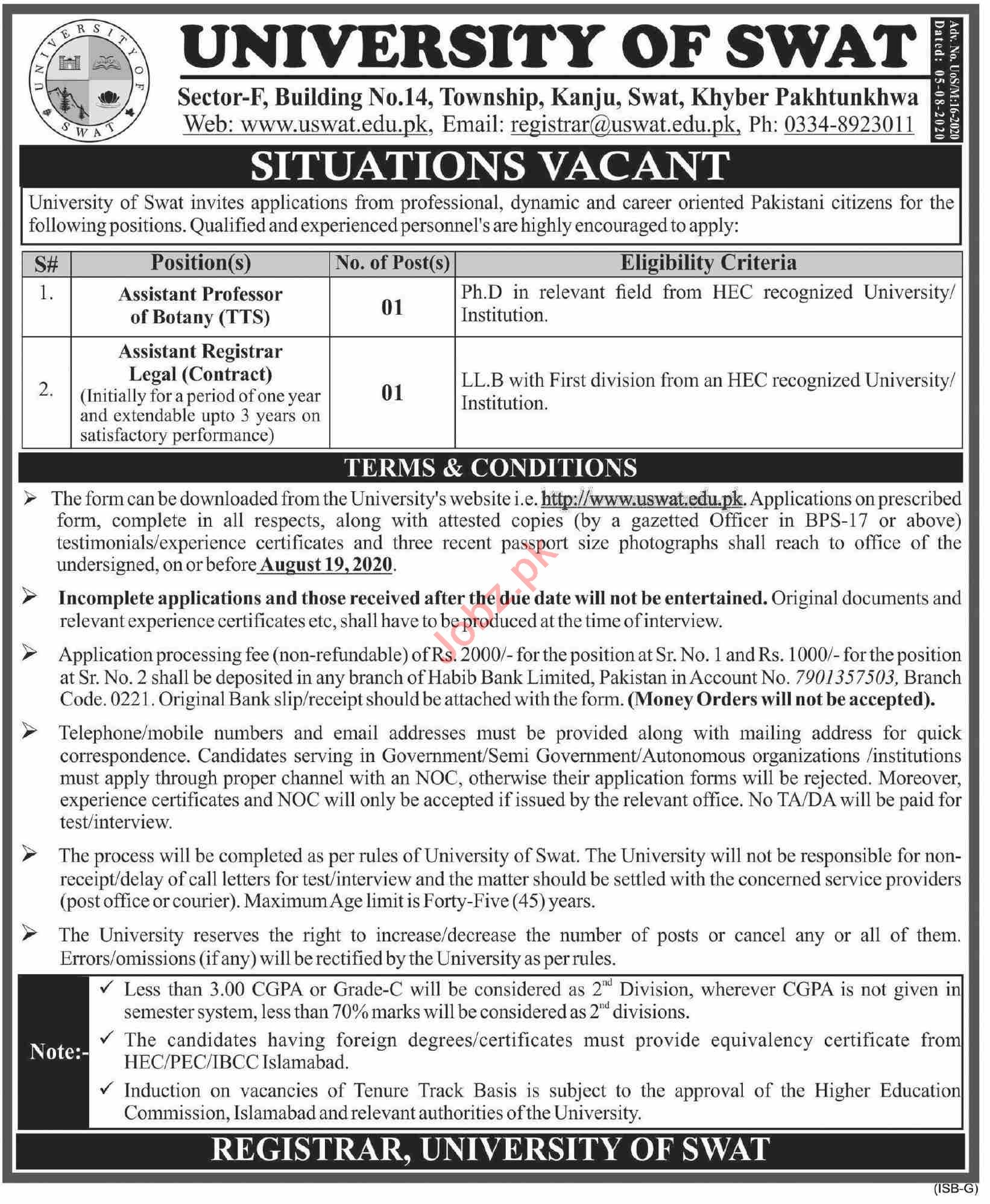 University of Swat Jobs 2020 for Professors & Registrars