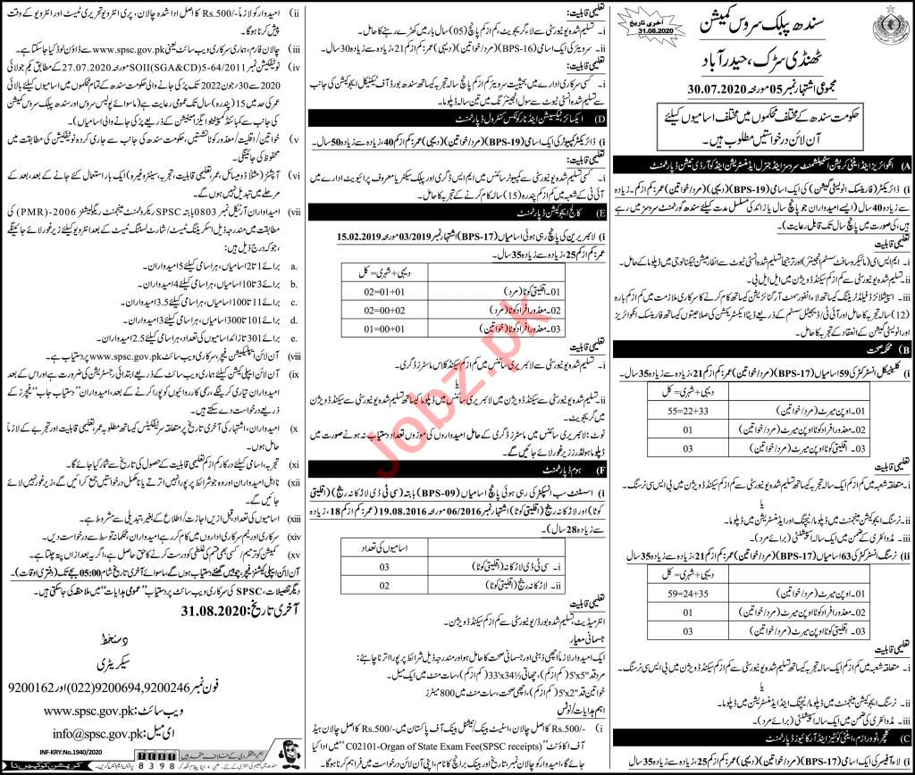 SPSC Health Department Sindh Jobs 2020 for Instructors